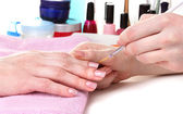 Manicure process in beautiful salon — Stock Photo