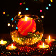Wonderful composition with candle in glass on wooden table on bright background — Stockfoto