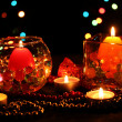 Wonderful composition of candles on wooden table on bright background — 图库照片