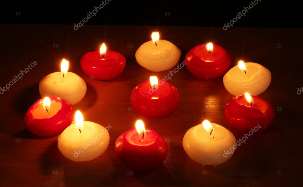 Beautiful candles and decor on wooden table — Stock Photo #9305593