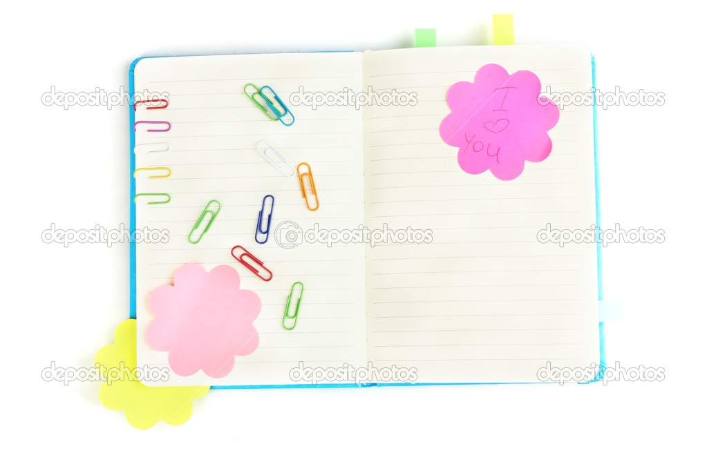 Open note book with stickies isolated on white  Stock Photo #9305627