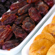 Dried fruits in plastic packaging close up — Stock Photo