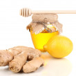 Ginger with lemon and honey isolated on white — Stock Photo #9334778
