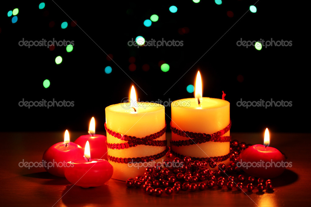 Beautiful candles and decor on wooden table on bright background — Stock Photo #9334458