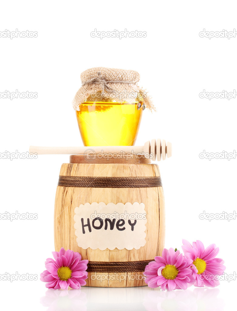 Sweet honey in barrel and jar with drizzler isolated on white — Stock Photo #9334666