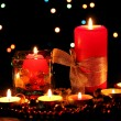 Wonderful composition of candles on wooden table on bright background — Stockfoto #9357394