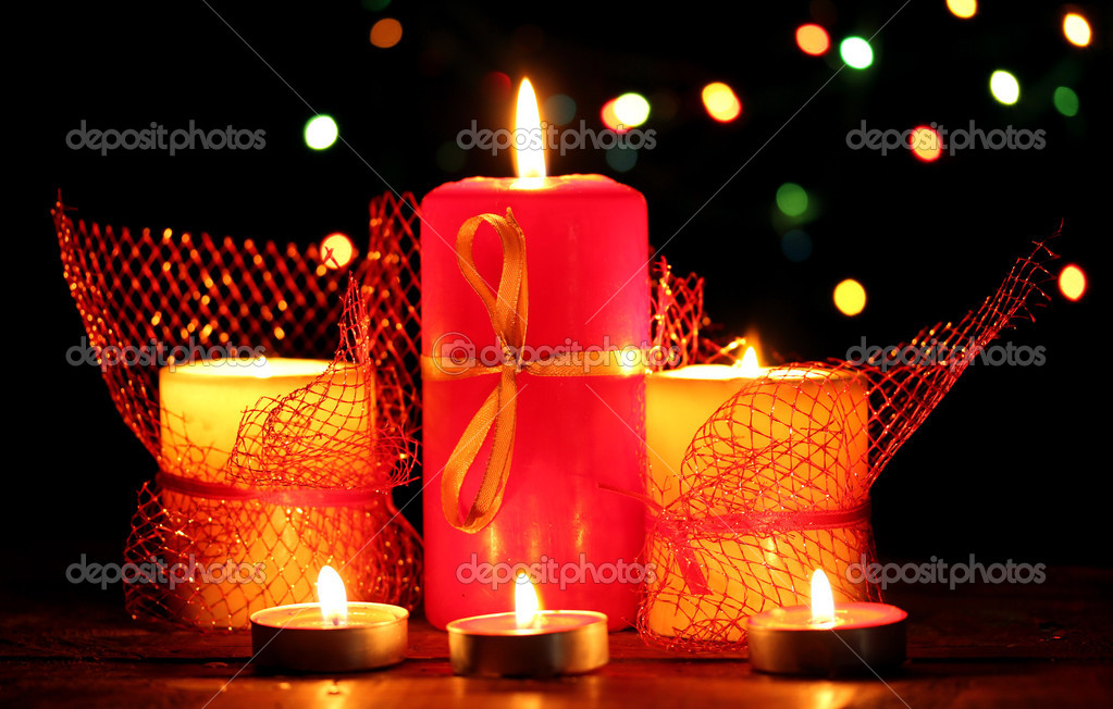Wonderful candles on wooden table on bright background — Stock Photo #9357247