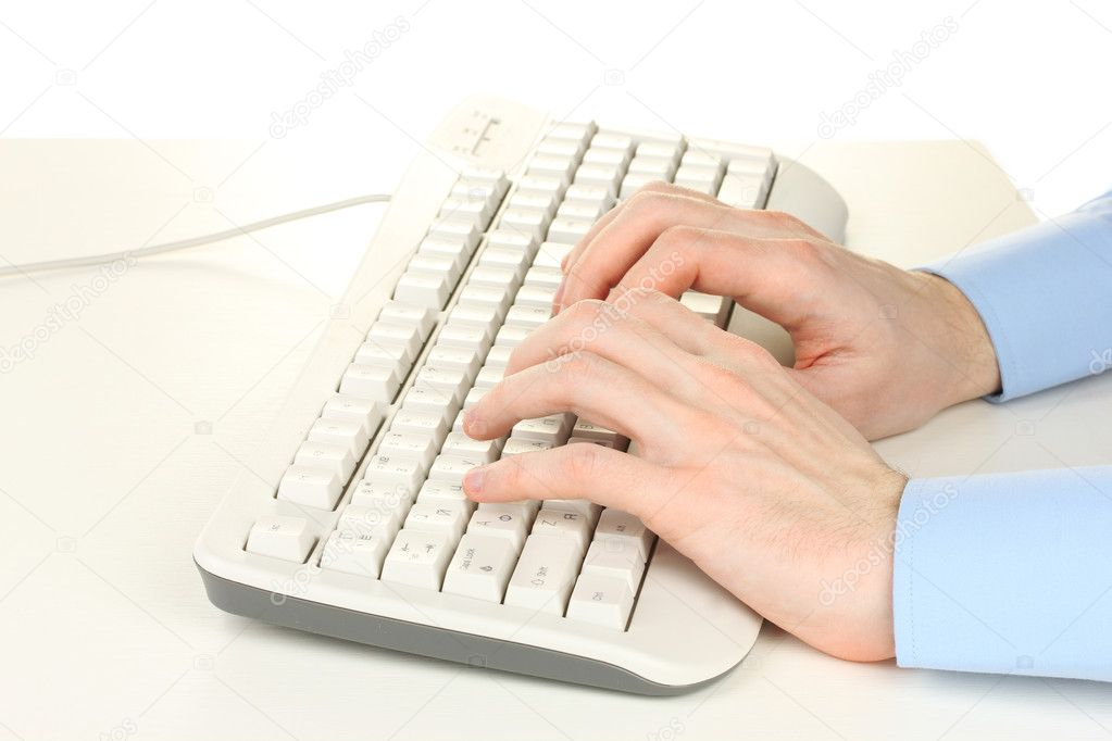 Male hands typing on the keyboard isolated on white — Stock Photo #9358033