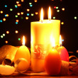 Beautiful candle and decor on wooden table on bright background — Stock Photo #9378196