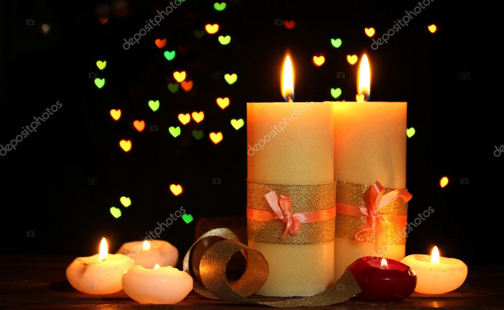 Beautiful candle and decor  on wooden table on bright background — Stock Photo #9373308