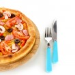 Aromatic pizza with fork and knife close-up isolated on white — Stock Photo