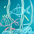 Two fishes, сhild's drawing with chalk — Stock Photo