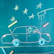 Car on road, child's drawing with chalk — Foto de Stock