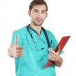 Young doctor man with stethoscope and folder isolated on white — Stock Photo #9396656