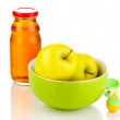 Baby plate and spoon with apple and juice isolated on white — Stock Photo