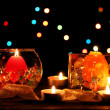 Wonderful composition of candles on wooden table on bright background — Stock Photo #9405450