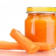 Jar of baby puree with carrot isolated on white — Stock Photo #9416770