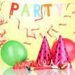 Party items on green background — Foto Stock
