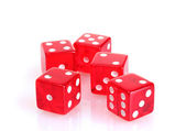 Red dices isolated on white — Stock Photo