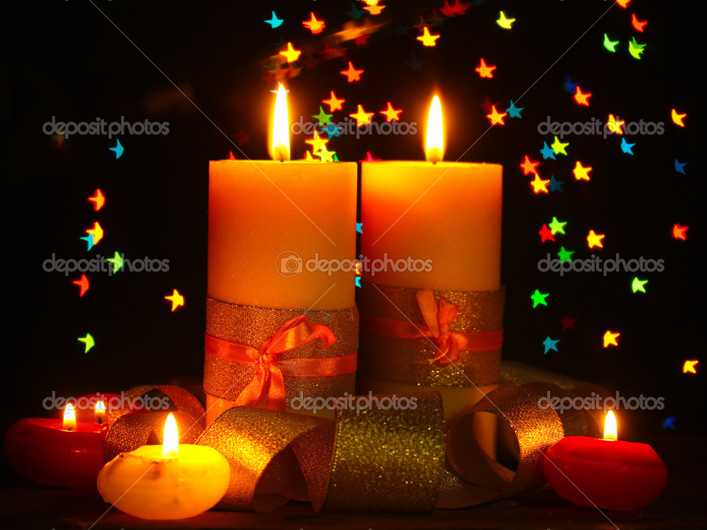 Beautiful candle and decor  on wooden table on bright background — Stock Photo #9431012