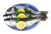 Fresh fishes with lemon and parsley on plate isolated on white — Stock Photo