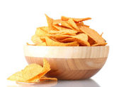 Tasty potato chips in wooden bowl isolated on white — Stock Photo