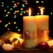 Beautiful candle and decor on wooden table on bright background — Stock Photo #9470831