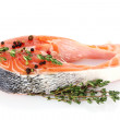 Red fish with spise and thyme isolated on white - Foto Stock