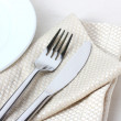 Fork, knife on napkin and plate isolated on white — Stock Photo