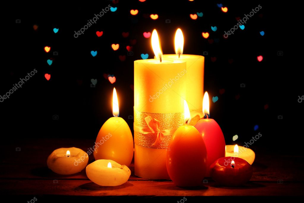 Beautiful candle and decor on wooden table on bright background — Stock Photo #9470833