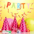 Party items on orange background — Foto de Stock