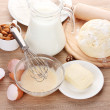 Stock Photo: Ingredients for dough wooden table