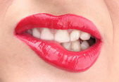Beautiful make up of glamour red gloss lips — Stock Photo
