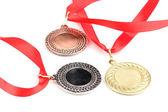 три медали, изолированные на белом фоне — Стоковое фото