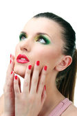 Portrait of sexy young woman with glamour make up and red manicure — Stockfoto