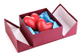 Hearts in box isolated on white — Stock Photo