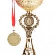Trophy cup and medal isolated on white — Stock Photo #9583232