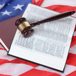 Judge gavel and books on american flag background — Stock Photo #9583288