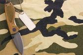 Distintivi esercito e coltello su sfondo mimetico — Foto Stock