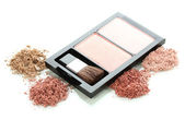 Make-up blusher in box isolated on white — Stok fotoğraf