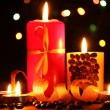 Wonderful candles on wooden table on bright background — Stockfoto
