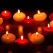 Beautiful candles and decor on wooden table — Stock Photo