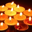 Beautiful candles and decor on wooden table - Foto Stock