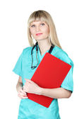 Young beautiful doctor with folder — Stock Photo