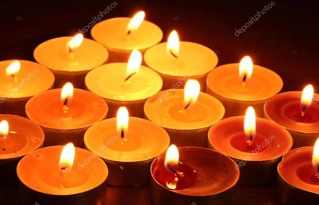 Beautiful candles and decor on wooden table  Stock Photo #9621869