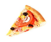 Slice of pizza close-up isolated on white — Stock Photo