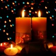 Beautiful candle and decor  on wooden table on bright background - Foto de Stock