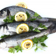 Fresh fishes with lemon, parsley and spice isolated on white — Stock Photo