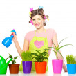 Beautiful happy young housewife sprays plants in flowerpots isolated on white - Photo