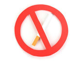 Cigarette butt with prohibition sign isolateed on white — Stock Photo
